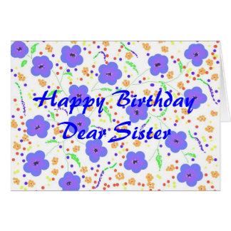 Hermana de la tarjeta del feliz cumpleaños,