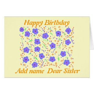 Hermana de la tarjeta del feliz cumpleaños. añada