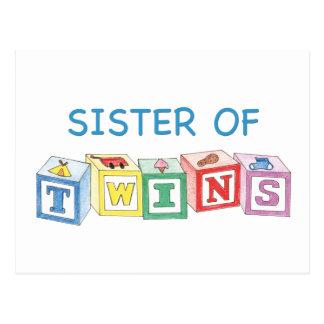 Hermana de los bloques de los gemelos postal