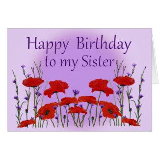 Hermana del feliz cumpleaños, campo de amapolas tarjeta de felicitación