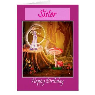 Hermana del feliz cumpleaños con el cumpleaños de  felicitaciones