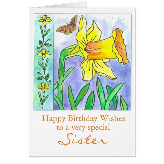 Hermana del feliz cumpleaños de la flor de la tarjeta de felicitación