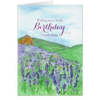Hermana del feliz cumpleaños del campo de la tarjeta de felicitación