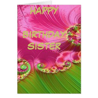Hermana del feliz cumpleaños del jardín de la tarjeta de felicitación