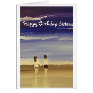 Hermana del feliz cumpleaños tarjeta