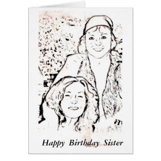 Hermana del feliz cumpleaños tarjeta pequeña