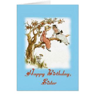 Hermana del feliz cumpleaños, vintage tarjeta de felicitación