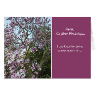 Hermana, en su cumpleaños… tarjeta de felicitación