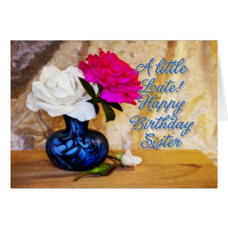 Hermana, feliz cumpleaños con los rosas pintados tarjeta de felicitación