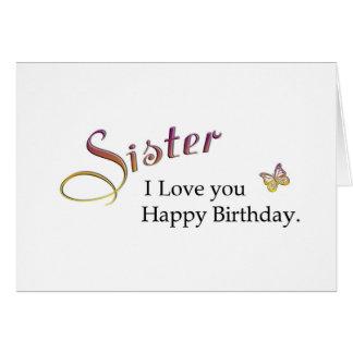 Hermana, feliz cumpleaños tarjeta de felicitación