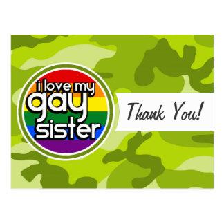 Hermana gay; camo verde claro, camuflaje tarjetas postales