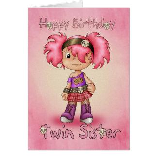 Hermana gemela - tarjeta de cumpleaños - polluelo