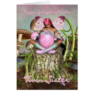 Hermana gemela - tarjeta de pascua de hadas de la