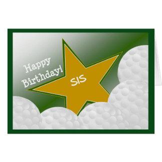 ¡Hermana - golf del feliz cumpleaños que ama el Tarjeta De Felicitación
