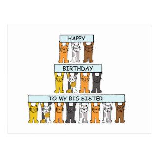 Hermana grande del feliz cumpleaños de los gatos tarjeta postal