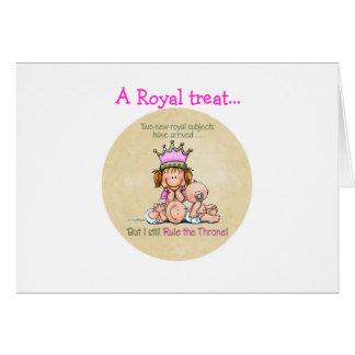 Hermana grande - reina de gemelos tarjeta de felicitación