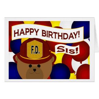 ¡Hermana - héroe del bombero del feliz cumpleaños! Tarjeta De Felicitación