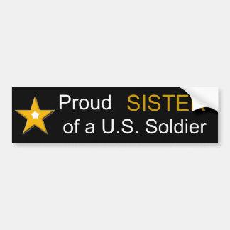 Hermana orgullosa de una familia de los militares pegatina para coche