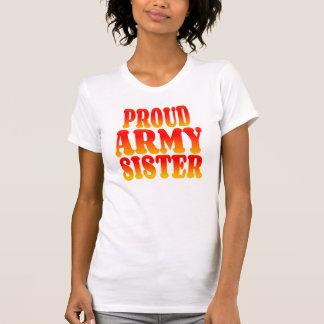 Hermana orgullosa del ejército en colores alegres camisetas