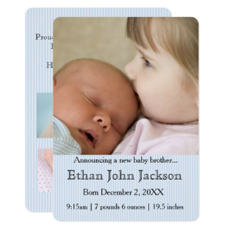 Hermana que anuncia el azul del nacimiento de invitación 12,7 x 17,8 cm