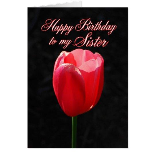 Hermana roja del feliz cumpleaños del tulipán tarjeta de felicitación