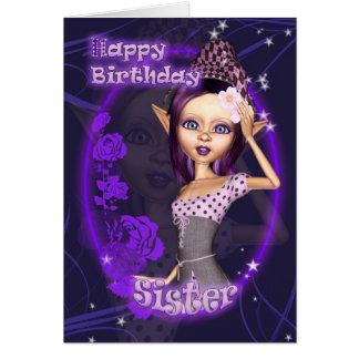 Hermana - tarjeta de cumpleaños con el duende lind