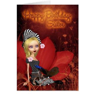 Hermana, tarjeta de cumpleaños con el duende lindo
