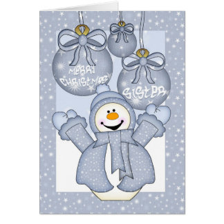 hermana, tarjeta de Navidad feliz del muñeco de