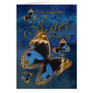 Hermana, tarjeta del día de madre con las mariposa