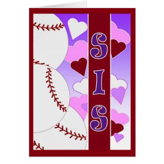 Hermana - te amo más que béisbol tarjeta de felicitación