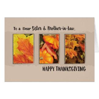 Hermana y cuñado, acción de gracias tres hojas tarjeta de felicitación