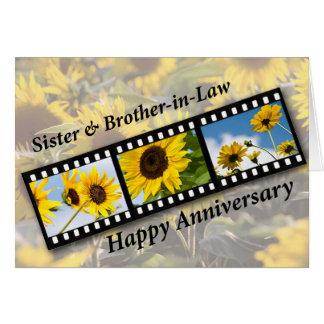 Hermana y cuñado, girasol Fil del aniversario Tarjeta