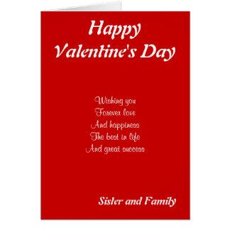 Hermana y familia el el día de San Valentín Tarjeta De Felicitación