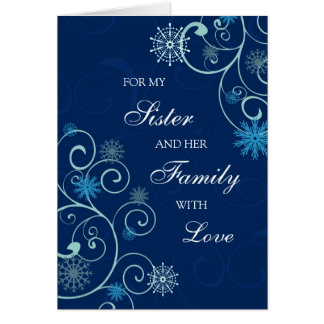 Hermana y su tarjeta de las Felices Navidad de la