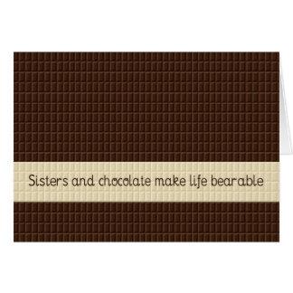 Hermanas y chocolate tarjeton