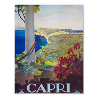 Hermosa vista de Capri Italia Póster