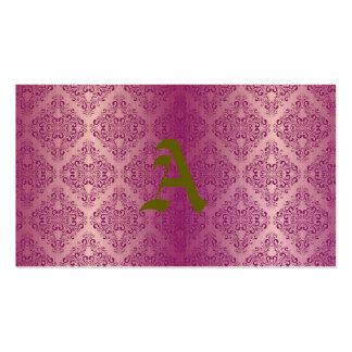 Hermoso, de plata, púrpura, damasco, vintage, tarjetas de visita