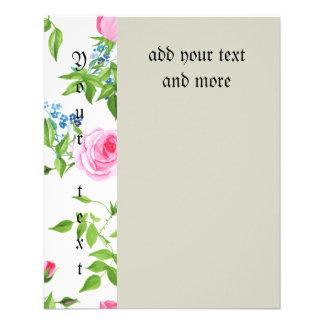 Hermoso, floral, rosado, modelo, femenino, de folleto 11,4 x 14,2 cm