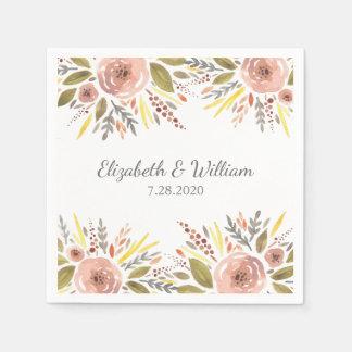 Hermoso se ruboriza el boda floral de la acuarela servilleta desechable