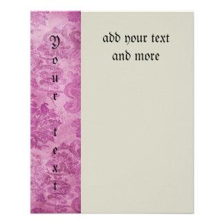 hermoso, vintage, rosa fuerte, floral, modelo folleto 11,4 x 14,2 cm