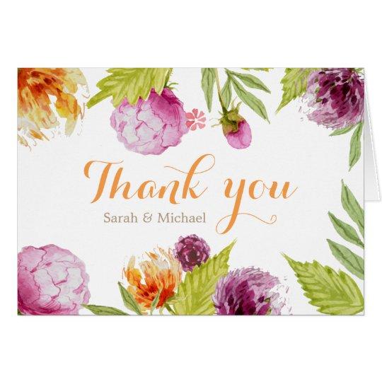 Hermosos pintados florales le agradecen Script Tarjeta Pequeña