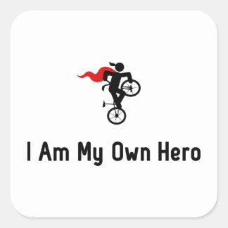 Héroe del estilo libre BMX Pegatina Cuadrada