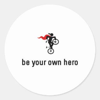 Héroe del estilo libre BMX Pegatina Redonda