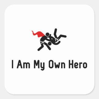 Héroe del judo pegatina cuadrada