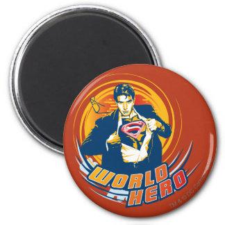Héroe del mundo del superhombre imán redondo 5 cm