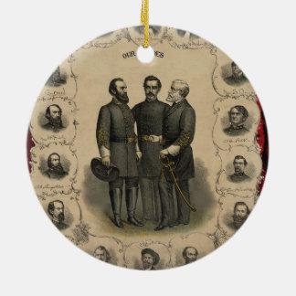 Héroes de la guerra civil adorno navideño redondo de cerámica