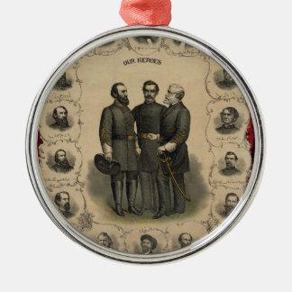 Héroes de la guerra civil adorno navideño redondo de metal
