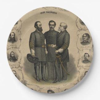 Héroes de la guerra civil plato de papel