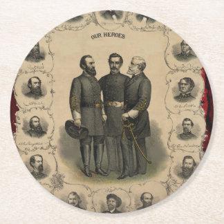 Héroes de la guerra civil posavasos de papel redondo