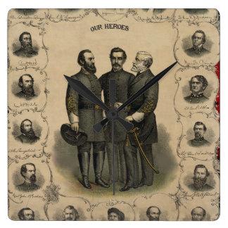 Héroes los E.E.U.U. de la guerra civil americanos Reloj Cuadrado